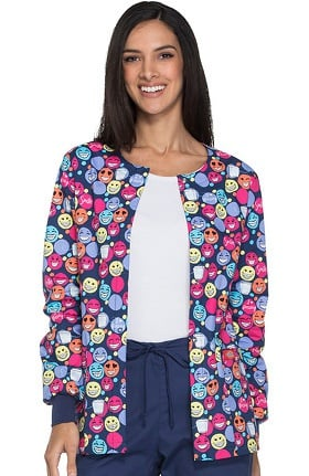 Everyday Scrubs Signature by Dickies Women's Snap Front Dental Print Scrub Jacket