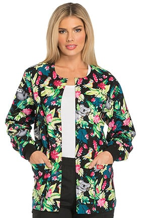 Everyday Scrubs Signature by Dickies Women's Snap Front Tropical Print Scrub Jacket