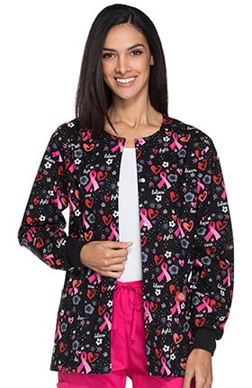 Everyday Scrubs Signature by Dickies Women's Snap Front Pink Ribbon Print Scrub Jacket