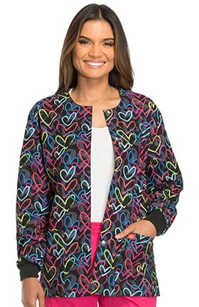 Everyday Scrubs Signature by Dickies Women's Snap Front Heart Print Scrub Jacket