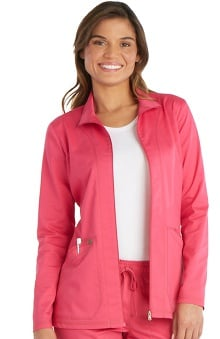 Essence by Dickies Women's Zip Front Warm-Up Solid Scrub Jacket