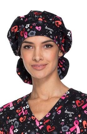 Fashion Prints by Dickies Unisex Pink Ribbon Print Bouffant Scrub Hat
