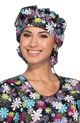 Breast Cancer Awareness by Dickies Women's Camo Print Bouffant Scrub Hat