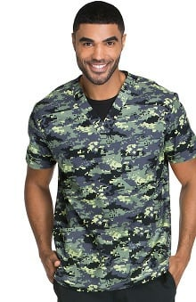 Everyday Scrubs Signature by Dickies Men's V-Neck Camo Print Scrub Top