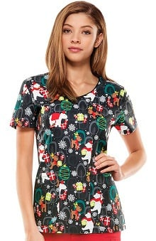 Everyday Scrubs Signature By Dickies Women's V-Neck Christmas Print Scrub Top