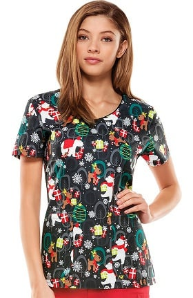 Clearance Everyday Scrubs Signature By Dickies Women's V-Neck Christmas Print Scrub Top