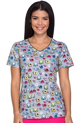 Everyday Scrubs Signature by Dickies Women's V-Neck Bug Print Scrub Top