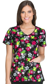 Everyday Scrubs Signature by Dickies Women's V-Neck Frog Print Scrub Top