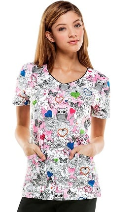 Clearance Everyday Scrubs Signature By Dickies Women's V-Neck Owl Floral Print Scrub Top