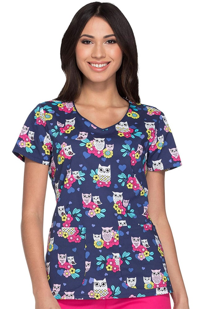 Everyday Scrubs Signature By Dickies Women S V Neck Owl
