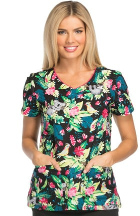 Everyday Scrubs Signature by Dickies Women's V-Neck Tropical Print Scrub Top