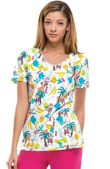 Everyday Scrubs Signature By Dickies Women's V-Neck Monkey Print Scrub Top