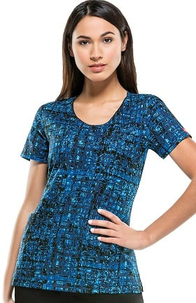 Clearance Everyday Scrubs Signature By Dickies Women's V-Neck Abstract Print Scrub Top