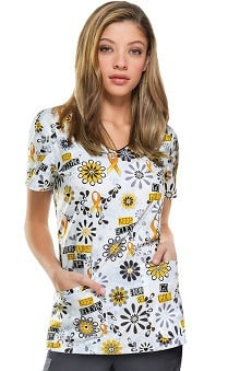 Everyday Scrubs Signature by Dickies Women's V-Neck Childhood Cancer Awareness Print Scrub Top