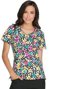 Everyday Scrubs Signature by Dickies Women's V-Neck Floral Print Scrub Top