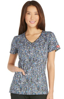 Everyday Scrubs Signature by Dickies Women's V-Neck Dot Print Scrub Top