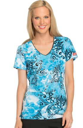 Fashion Prints by Dickies Women's V-Neck Floral Print Scrub Top