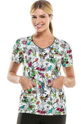 Clearance Everyday Scrubs Signature By Dickies Women's V-Neck Tropical Bird Print Scrub Top