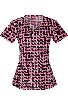 Gen Flex by Dickies Women's V-Neck Abstract Print Scrub Top