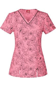 Gen Flex by Dickies Women's V-Neck Butterfly Print Scrub Top
