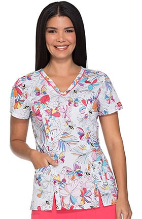 Fashion Prints by Dickies Women's V-Neck Bee Print Scrub Top