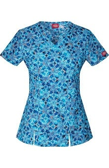 Clearance Gen Flex by Dickies Women's V-Neck Floral Print Scrub Top