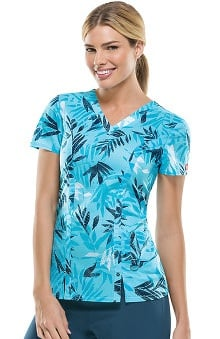 Everyday Scrubs Signature By Dickies Women's V-Neck Botanical Print Scrub Top