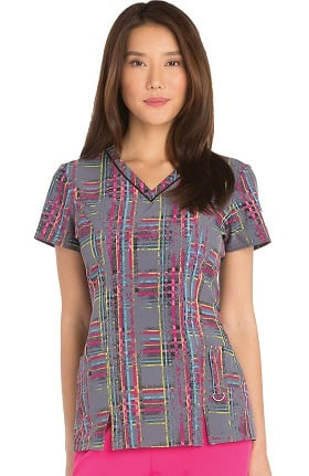 Clearance Xtreme Stretch by Dickies Women's V-Neck Plaid Print Scrub Top