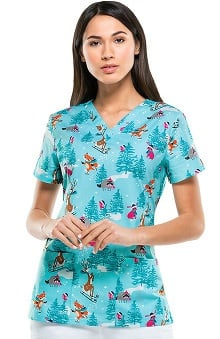 Everyday Scrubs Signature By Dickies Women's V-Neck Winter Animals Print Scrub Top
