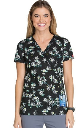 Fashion Prints by Dickies Women's Mock Wrap Floral Print Scrub Top