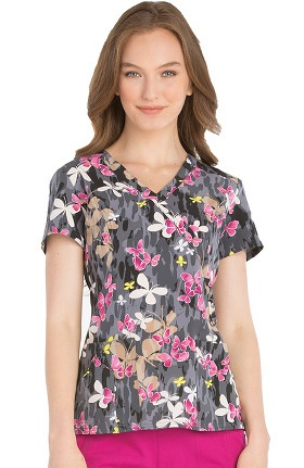 Clearance Xtreme Stretch by Dickies Women's Mock Wrap Butterfly Print Scrub Top