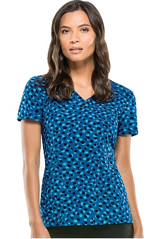 Everyday Scrubs Signature By Dickies Women's Mock Wrap Dot Print Scrub Top