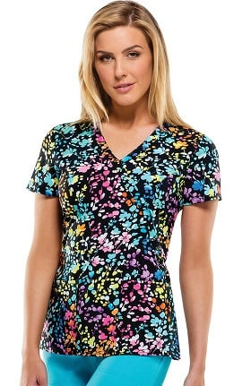 Clearance Everyday Scrubs Signature By Dickies Women's Mock Wrap Floral Print Scrub Top