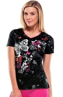 Everyday Scrubs Signature By Dickies Women's V-Neck Butterfly Print Scrub Top