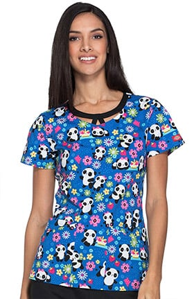 Everyday Scrubs Signature by Dickies Women's Round Neck Panda Print Scrub Top
