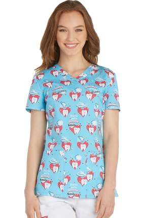 Clearance Everyday Scrubs Signature by Dickies Women's V-Neck Dental Print Scrub Top