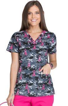 Breast Cancer Awareness by Dickies Women's V-Neck Camo Print Scrub Top