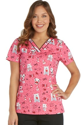 Everyday Scrubs Signature by Dickies Women's V-Neck Bear Print Scrub Top
