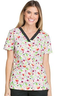 Everyday Scrubs Signature by Dickies Women's V-Neck Pediatric Print Scrub Top