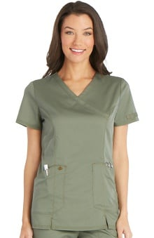 Essence by Dickies Women's Mock Wrap Solid Scrub Top