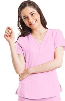 Clearance Purple Label Modern Fit by Healing Hands Women's Jane Y-Neck Solid Scrub Top