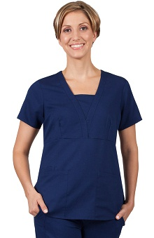 Purple Label Classic Fit by Healing Hands Women's Jenna Modesty V-Neck Solid Scrub Top