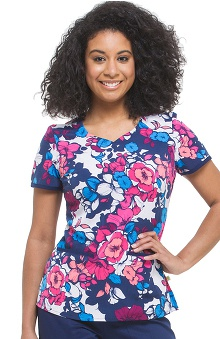 Premiere by Healing Hands Women's Jamie Sweetheart Neck Floral Print Scrub Top