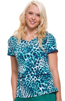 Premiere by Healing Hands Women's Jamie Sweetheart Neck Animal Print Scrub Top