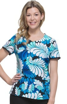 Premiere by Healing Hands Women's Jamie Sweetheart Neck Paisley Print Scrub Top