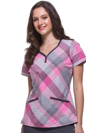 Premiere by Healing Hands Women's Jamie Sweetheart Neck Plaid Print Scrub Top