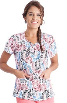 Healing Hands Women's Isabel Sweetheart Neck Summer Leaves Print Scrub Top