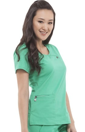 Green Label with Tencel® by Healing Hands Women's Angie Y-Neck Solid Scrub Top