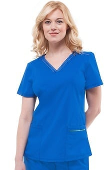 Green Label With Tencel® by Healing Hands Women's Amber V-Neck Solid Scrub Top