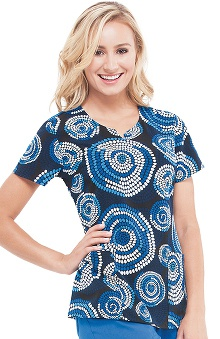 Clearance Premiere by Healing Hands Women's Bella Geometric Print Scrub Top
